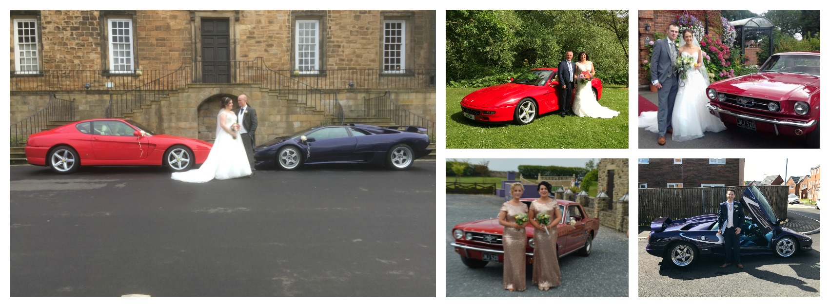 Supercar Weddings 5 picture wide collage